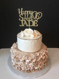 Any Name, Glitter Happy Sweet 16 Birthday Cake Topper, Sweet Sixteen Cake Topper, Glitter 16th Birthday Cake Topper, Sweet 16 Cake Topper by SugarPlumCreationsCo on Etsy https://www.etsy.com/listing/469424668/any-name-glitter-happy-sweet-16-birthday