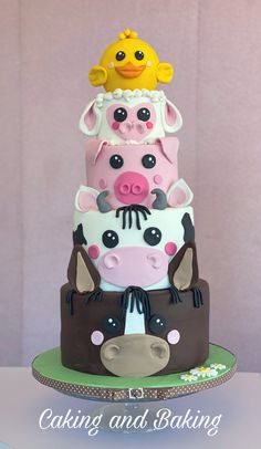 Horse cow pig sheep and chick cake Cow Birthday Parties, Farm Birthday Cakes, Birthday Cake For Cat, Animal Birthday Cakes, 2nd Birthday, Animal Cakes For Kids, Farm Animal Cakes, Cow Cakes, Girl Cakes