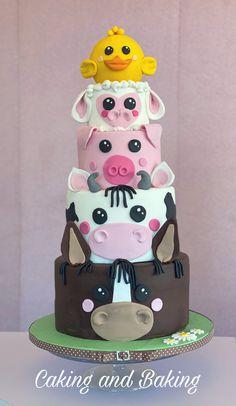 Horse cow pig sheep and chick cake Farm Birthday Cakes, Animal Birthday Cakes, 2nd Birthday, Animal Cakes For Kids, Farm Animal Cakes, Sheep Cake, Cow Cakes, Farm Cake, Horse Cake