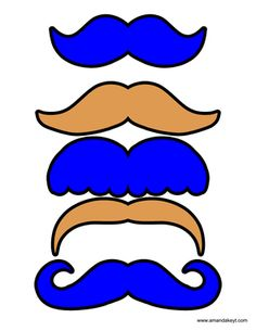 Mustaches from Royal Blue Cookie Monster Inspired Printable Photo Booth Prop Set