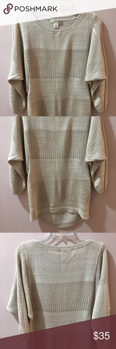 Long sleeve lightweight top. Never worn cream lightweight top. Bought at the Arden store. Smoke Free Owner/Home.  Also, listed in black. Arden B Sweaters