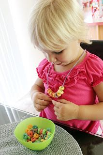 Cereal necklace. Great for church, movies etc. they can make them & then wear them to activity to keep them busy