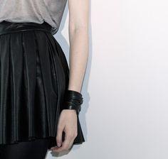 Alice & Olivia | Black Box Pleat Leather Skirt | goop.com