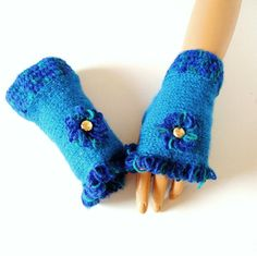Handknit Blue Gloves Hand Knit Blue Fingerless by RoseAndKnit, $32.00