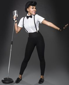 """""""Janelle Monáe the cute and young R&B singer who describe herself as a 'time traveller' – MAIL KING ViV"""" Suspenders Outfit, Suspenders For Women, Suits For Women, Clothes For Women, Look Retro, Work Attire, Bartender, Black Girls, Dapper"""