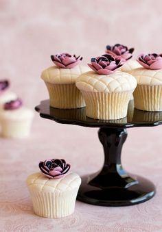 Pink, Black Flower Cupcakes