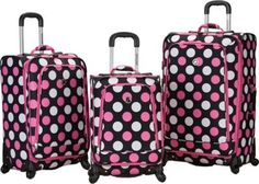 Rockland Luggage 3 Piece Monte Carlo Spinner Luggage Set MultiPink Dot - via eBags.com! #PickPink