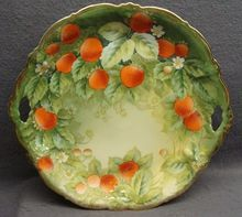 Antique Hand Painted P T Bavaria Strawberry Cake Plate Ca 1900 Artist Signed from Clovercraft Antiques on Ruby Lane