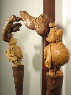 SCULPTURE sur BOIS: Canne/Bâton monoxyle sculptée en Buis par Pierre Damiean dans l' Esprit de la B.D.!...Voir le Site: www.pierdam.fr