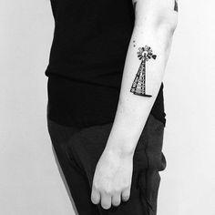 custom piece on Jenna #tattoo #windmill #farmwindmill #illustration #vancouvertattoo