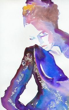 CATE PARR WATERCOLOR OF KATE MOSS.