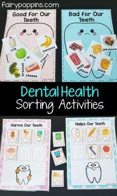 Dental activities for kids in preschool, kindergarten, first grade and second grade. Includes crafts, worksheets and sorting activities. Focuses on topics like brushing teeth, parts of a tooth and nutrition. ~ Fairy Poppins #dentalweek #dentalactivities #teethcrafts
