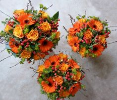 These flower girl bouquets are so vibrant but still keep the Autumn feel