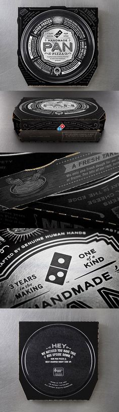 CP+B Dresses Up Dominos Handmade Pan Pizza with a new silver and black typographic box design.