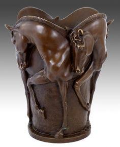 Pferdebronze - Pferde Bronzevase - signiert Milo - Pferde Skulptur kaufen
