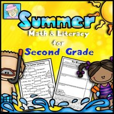 Summer Math and Literacy for Second Grade. This resource has 41 pages of Common Core based math and literacy activities. The set contains pages that focus on addition, subtraction, counting money, telling time, reading fluency, writing, graphing, partitioning wholes, word problems, and more! $
