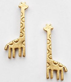 Cute Golden Mini Giraffe Earrings haha these are cute