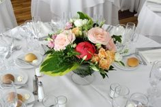 Peach table centerpiece with peonies by Limelight Floral Design Hoboken NJ