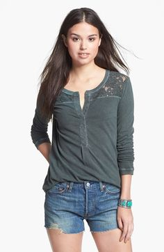 Rubbish® Tacked Placket Lace Yoke Tee (Juniors) available at #Nordstrom....just got this in the purple grey color...cheap and cute with skinnies.