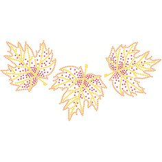 10x5  - 3 Leaves (Rhinestuds) - autumn, fall, leaves, trees, Material Transfer, Fall