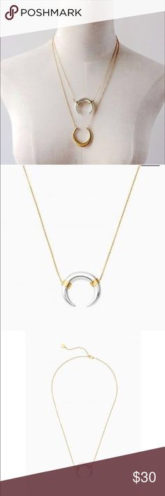 New Stella & Dot Crescent Horn Metal Necklace Gorgeous Brand New Stella & Dot Crescent Horn Metal silver and gold necklace. Super cute and flattering. Get this bargain before it's gone! Stella & Dot Jewelry Necklaces