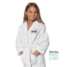 Personalized Flower Girl Robe with Name on Front and Flower Girl on Back, Waffle Hooded Kimono Robe, flower girl gift idea, kids waffle robe Flower Girl Robes, Flower Girl Gifts, Kids Robes, Bridal Party Robes, Popular Colors, Your Girl, Hoods, Rain Jacket, Windbreaker