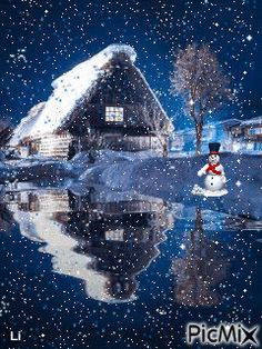 Waiting for the lake to freeze! Christmas Scenery, Winter Scenery, Christmas Pictures, Christmas Art, Christmas Greetings, Beautiful Christmas, Winter Christmas, Vintage Christmas, Winter Images