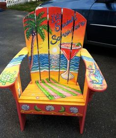 These free Adirondack chair plans will help you build a great looking chair in just a few hours, Build one yourself! Here are 18 adirondack chair diy Hand Painted Chairs, Hand Painted Furniture, Funky Furniture, Plywood Furniture, Painted Benches, Pool Chairs, Balcony Table And Chairs, Beach Chairs, Adirondack Chair Plans