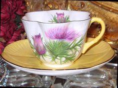 Shelley PURPLE THISTLE Tea Cup and Saucer DAINTY SHAPE Yellow handle #ShelleyChinaEngland