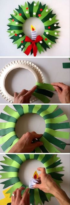 Paper plate Christmas wreath - Holiday Crafts for Kid's - Crafts for kids Christmas Decoration For Kids, Diy Christmas Arts And Crafts, Christmas Activities For Kids, Holiday Crafts For Kids, Diy Arts And Crafts, Diy Christmas Ornaments, Diy Crafts For Kids, Kids Diy, Homemade Christmas