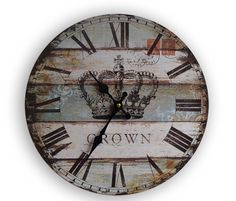 """Find More Wall Clocks Information about Free Shiping 13""""Vintage Crown  Colourful Printed Wooden Wall Clock for Home Decoration,High Quality wall modern,China clock mold Suppliers, Cheap wall quartz clock from Haining Sunshine textile CO.,LTD on Aliexpress.com"""