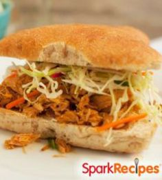 Slow Cooker BBQ Pulled Pork: This was delicious. Every time one of the men would walk in the house - they would comment on how good it smelled. But the taste was the best!!   via @SparkPeople #food #recipe #Crockpot #sandwich #party