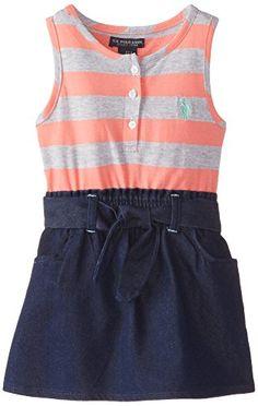 U.S. POLO ASSN. Little Girls' Jersey Top and Denim Bottom #Dress, Calypso Peach, 2T U.S. Polo Assn.