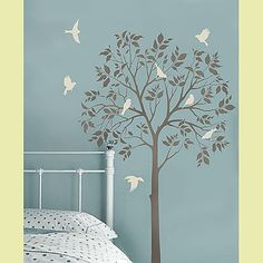 Cutting Edge Stencils - Large Tree & Birds Stencils