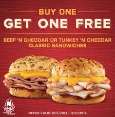 Buy one, get one FREE Beef 'n Cheddar or Turkey 'n Cheddar Classic Arby's Sandwiches. Valid 12/5/2012 – 12/11/2012.