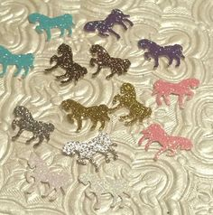 Choose colors! Mini glitter horses ponies western cowboy cowgirl rodeo themed confetti baby shower birthday party favor invitation inserts table decor scatter die cuts