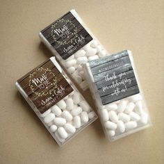 (labels are shown on the 1oz. Tic Tac containers in the listing photo) MINT to BE Favor Labels Featuring Rustic Barn Wood background image with Delicate Greenery Wreath - these labels will be digitally printed on matte white adhesive label stock specifically sized to fit Tic Tac containers (3.75 x 1.4375 labels). Choose a Warm Wood, Dark Wood or Gray Wood background (TIC TACS NOT INCLUDED!) Along with Mint TO BE, the front will show the couples names & wedding date and the back side has...