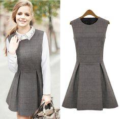 New Style O Neck Tank Sleeveless Pleated Wool Mini Dress(US$14.49)
