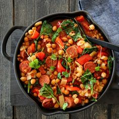 CHORIZOGRYTE MED LINSER OG KIKERTER A Food, Food And Drink, Dinner Is Served, Frisk, Chorizo, Kung Pao Chicken, Eating Well, Lunch Recipes, Paella