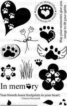 Paws to Remember Clear Stamps Tribal Tattoos, Dog Tattoos, Body Art Tattoos, Tattoos Skull, Paw Print Crafts, Paw Print Art, Dog Quotes, Animal Quotes, Dog Memorial Tattoos
