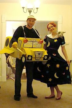 My boyfriend and I were The Magic School Bus and Miss Frizzle for Halloween. We ended up winning in the costume contest.I think it should have been a first, though I may be a bit bias. Cartoon Character Halloween Costumes, Book Character Costumes, Book Costumes, Character Ideas, Teacher Costumes, Cute Costumes, Costume Ideas, Science Costumes, Clever Costumes