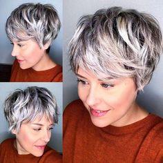 Short Hair With Layers, Short Hair Cuts, Pixie Cut Grau, Long Pixie, Shaggy Pixie Cuts, Top Hairstyles, Pixies, Silver Hair, Hair Day