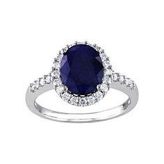 September Birthstone Blue Sapphire & 3/8 Ct Diamond Ring In 14K White Gold # Free Stud Earrings by JewelryHub on Opensky