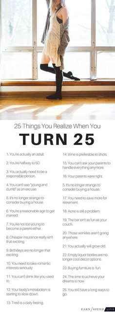 Birthday Quotes : 25 Things You Realize When You Turn 25 25th Birthday Ideas For Her, Birthday Quotes Funny For Her, 25th Birthday Parties, Happy Birthday Cards, Happy 25th Birthday Quotes, Birthday Presents, Free Birthday, Sister Birthday, Boyfriend Birthday
