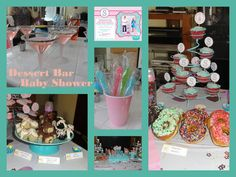 """Dessert Bar Baby Shower - Baby Sprinkle ~this shabby chic inspired baby shower """"baby sprinkle"""" was themed 'sweets and sprinkles' with a dessert bar with tons of sprinkles! Cookie Dough Truffles; Oreo Truffles; Cake Batter Truffles; Sprinkle Donuts; Cupcakes; Rock Candy Swizzle Sticks for the tea; Cake Pops; Lollipops; Jelly Beans; Cookies; and Cake Batter Martinis adorned with Sprinkles."""