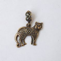 Celtic cat Necklace Pendant Brass Jewelry Charm by BDSartJewelry