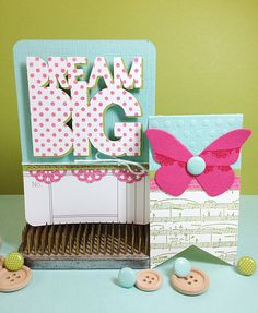 Fantastic cards that mix stamping and die-cuts. Cards by Robyn Werlich. Love her happy style.
