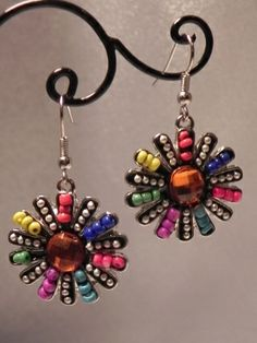 Colorful Flower Earrings.