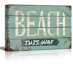 Wall26  Rustic Directional Beach Sign  Canvas Art Home Decor  24x36 inches * Check this awesome product by going to the link at the image. (This is an affiliate link and I receive a commission for the sales)