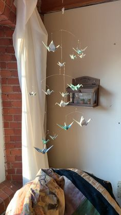 Aqua Ocean Print Mobile with Origami Paper Cranes Aqua Ocean Print Mobile with Origami Paper Cranes The Timeless Crane TheTimelessCrane Coastal Ocean Nurseries Large Aqua Origami Paper Crane Mobile nbsp hellip Room aesthetic videos Baby Room Design, Baby Room Decor, Nursery Room, Nursery Ideas, Nursery Mobiles, Nursery Crafts, Nursery Office, Baby Room Diy, Baby Mobiles
